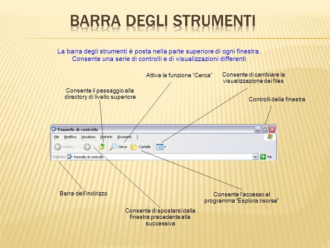La barra degli strumenti è posta nella parte superiore di ogni finestra. Consente una serie di controlli e di visualizzazioni differenti Consente di c