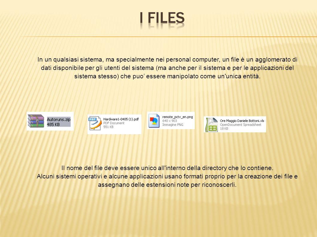 In un qualsiasi sistema, ma specialmente nei personal computer, un file è un agglomerato di dati disponibile per gli utenti del sistema (ma anche per