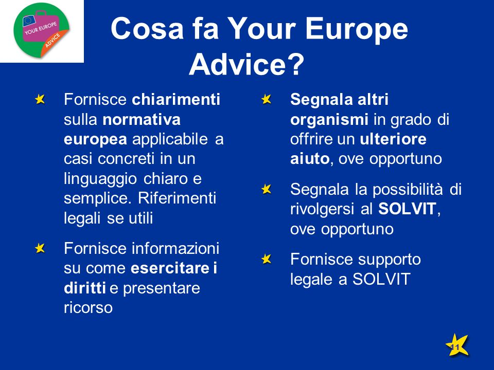 Cosa fa Your Europe Advice.