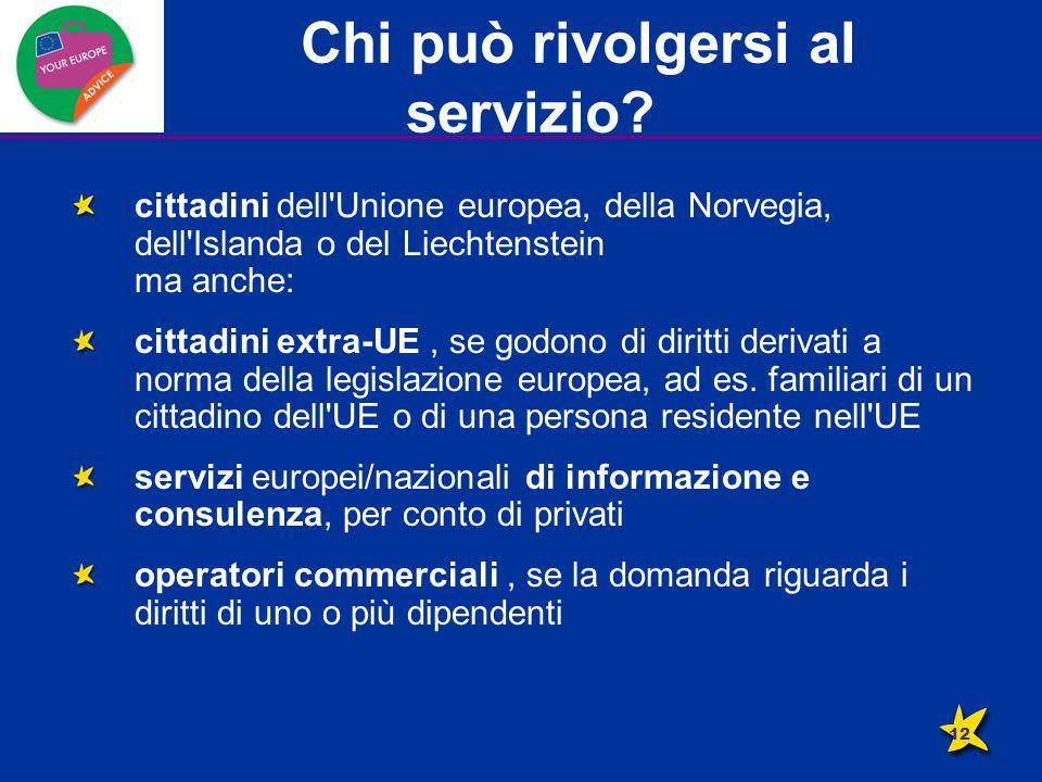 Chi può rivolgersi al servizio? cittadini dell'Unione europea, della Norvegia, dell'Islanda o del Liechtenstein ma anche: cittadini extra-UE, se godon