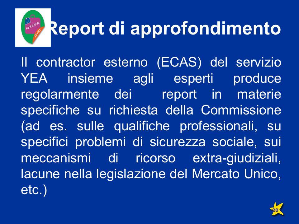 Report di approfondimento Il contractor esterno (ECAS) del servizio YEA insieme agli esperti produce regolarmente dei report in materie specifiche su