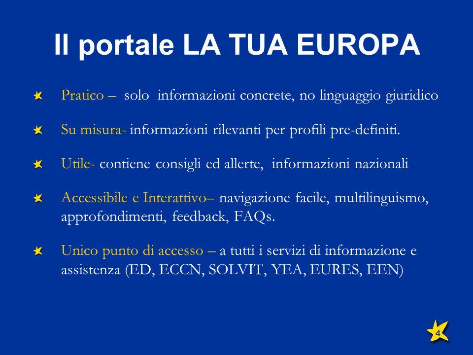Il portale LA TUA EUROPA Pratico – solo informazioni concrete, no linguaggio giuridico Su misura- informazioni rilevanti per profili pre-definiti. Uti