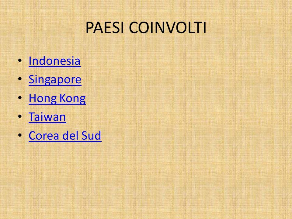 PAESI COINVOLTI Indonesia Singapore Hong Kong Taiwan Corea del Sud