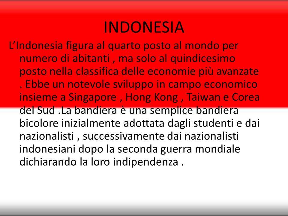 INDONESIA L'Indonesia figura al quarto posto al mondo per numero di abitanti, ma solo al quindicesimo posto nella classifica delle economie più avanza