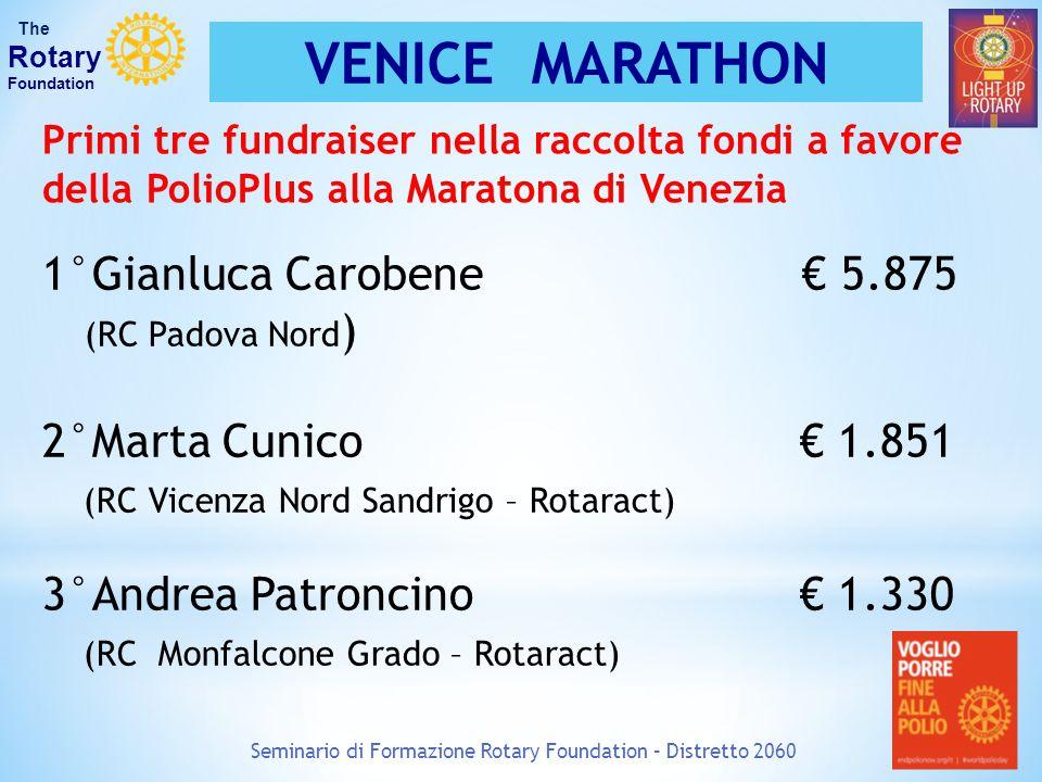 Seminario di Formazione Rotary Foundation – Distretto 2060 The Rotary Foundation VENICE MARATHON Caro Rotary, congratulazioni per aver vinto il primo premio Rete del Dono al Personal Fundraising in occasione di Venicemarathon.