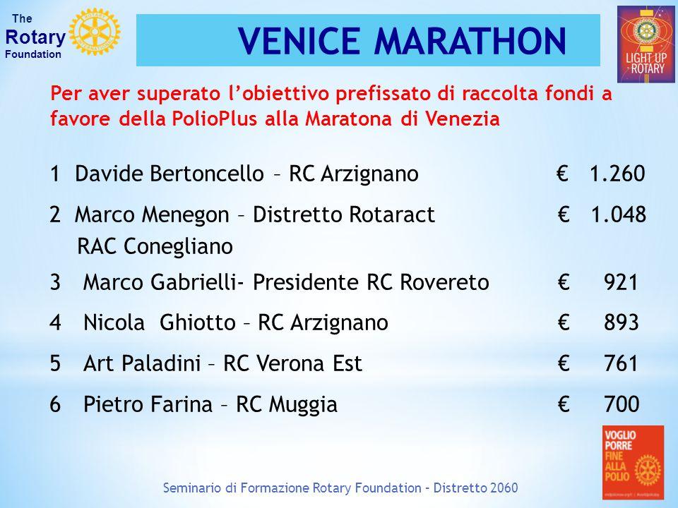 Seminario di Formazione Rotary Foundation – Distretto 2060 The Rotary Foundation VENICE MARATHON 1 Davide Bertoncello – RC Arzignano € 1.260 2 Marco M