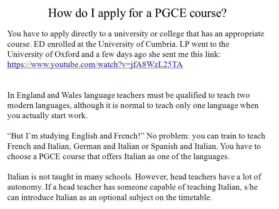 How do I apply for a PGCE course.