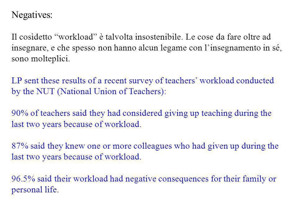 """Negatives: Il cosìdetto """"workload"""" è talvolta insostenibile. Le cose da fare oltre ad insegnare, e che spesso non hanno alcun legame con l'insegnament"""