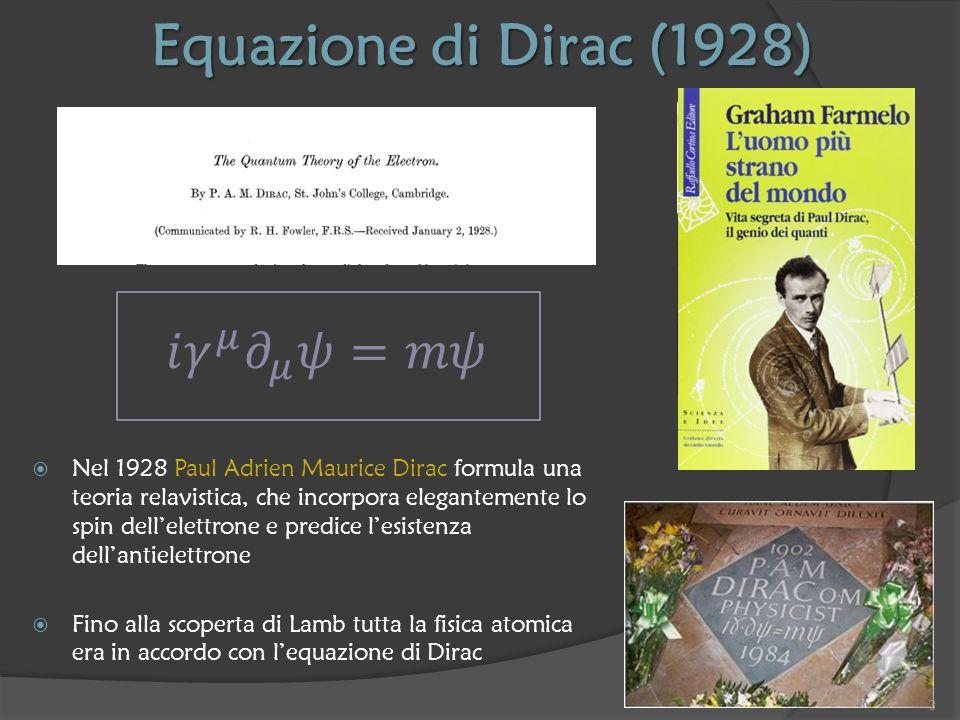 Giovani fisici a Shelter Island 2 fisici teorici americani 29enni erano presenti al seminario di Lamb Julian SchwingerRichard Feynman Entrambi capiscono che la visione di Dirac dell'elettrone è troppo semplicistica e che la soluzione si trova nelle Teorie Quantistiche di Campo (o Teorie di Gauge) Nel 1948 sviluppano (indipendentemente) una Teoria Quantistica di Campo chiamata Elettrodinamica Quantistica Schwinger e Feynman risolvono il problema 4