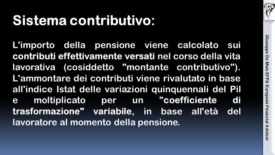 Sistema contributivo: L importo della pensione viene calcolato sui contributi effettivamente versati nel corso della vita lavorativa (cosiddetto montante contributivo ).