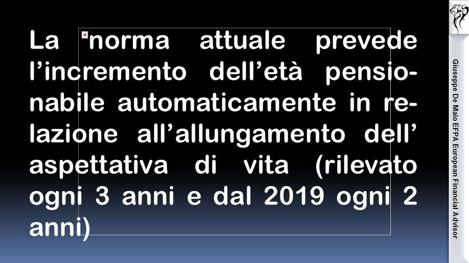 Giuseppe De Maio EFPA European Financial Advisor La norma attuale prevede l'incremento dell'età pensio- nabile automaticamente in re- lazione all'allungamento dell' aspettativa di vita (rilevato ogni 3 anni e dal 2019 ogni 2 anni)