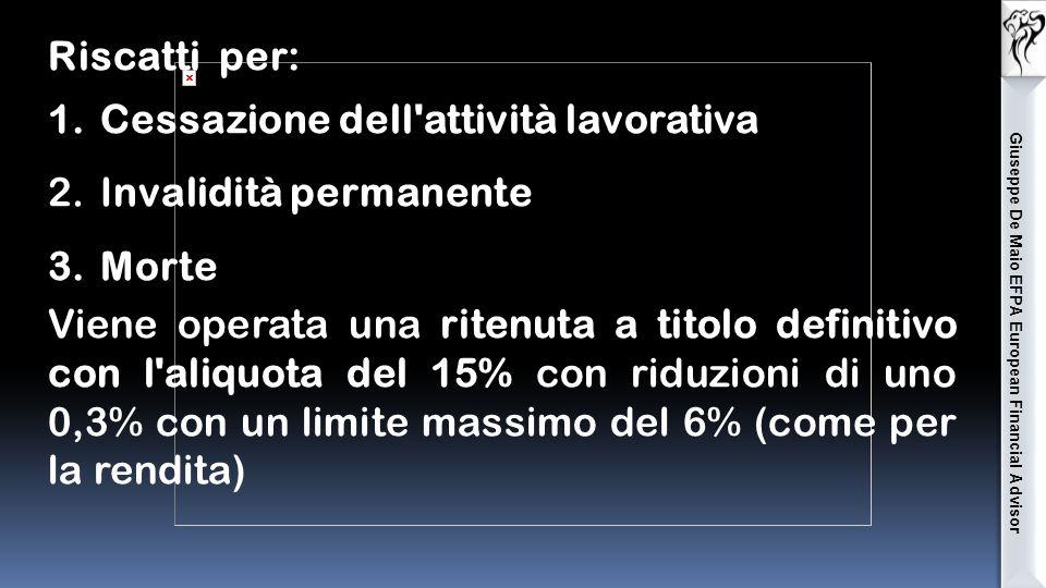Giuseppe De Maio EFPA European Financial Advisor Riscatti per: 1.Cessazione dell attività lavorativa 2.Invalidità permanente 3.Morte Viene operata una ritenuta a titolo definitivo con l aliquota del 15% con riduzioni di uno 0,3% con un limite massimo del 6% (come per la rendita)