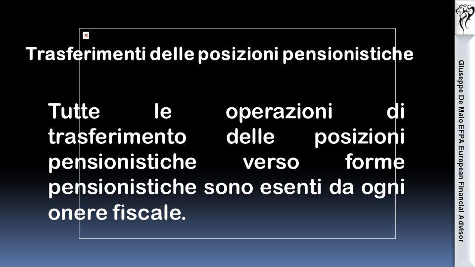 Giuseppe De Maio EFPA European Financial Advisor Tutte le operazioni di trasferimento delle posizioni pensionistiche verso forme pensionistiche sono esenti da ogni onere fiscale.