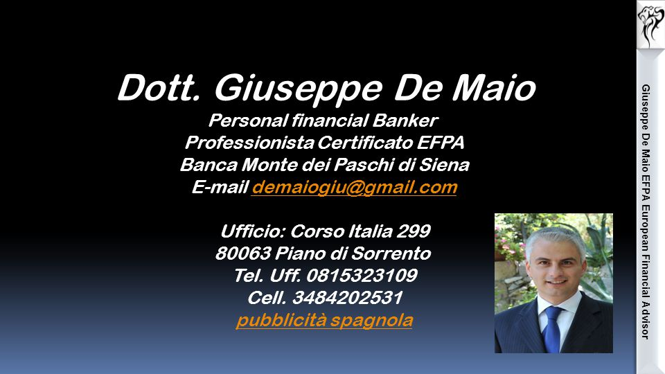 Giuseppe De Maio EFPA European Financial Advisor Dott.