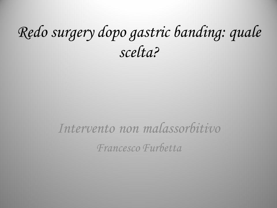 Redo surgery dopo gastric banding: quale scelta? Intervento non malassorbitivo Francesco Furbetta