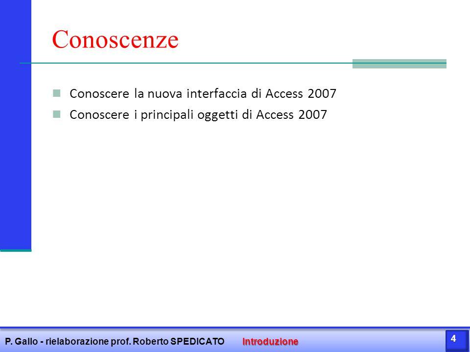 Il nostro database: lo schema relazionale Applicando le regole di derivazione possiamo trasformare il diagramma E/R bel seguente schema relazionale: ALBUM(CodAlbum, Titolo, Anno, CodCantante) BRANO(CodBrano, TitoloBrano, Durata, File, CodGenere) CANTANTE(CodCantante, Nome, Gruppo) GENERE(CodGenere, Tipo) CONTIENE(CodAlbum, CodBrano) Sono, così, nate 5 relazioni che nella terminologia di Access prendono il nome di TABELLE Introduzione P.
