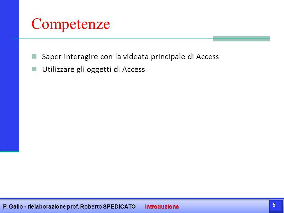 Competenze Saper interagire con la videata principale di Access Utilizzare gli oggetti di Access Introduzione P. Gallo - rielaborazione prof. Roberto
