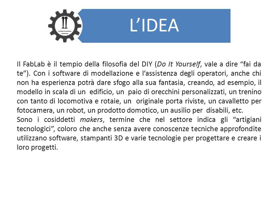 """L'IDEA Il FabLab è il tempio della filosofia del DIY (Do It Yourself, vale a dire """"fai da te""""). Con i software di modellazione e l'assistenza degli op"""
