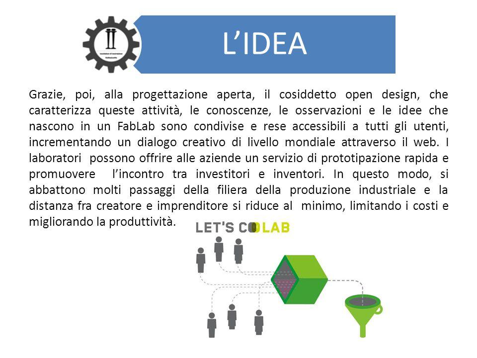 L'IDEA Grazie, poi, alla progettazione aperta, il cosiddetto open design, che caratterizza queste attività, le conoscenze, le osservazioni e le idee c