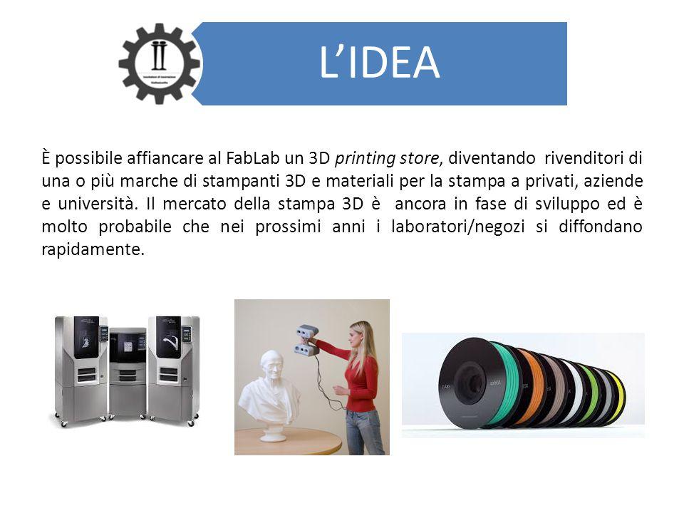 L'IDEA È possibile affiancare al FabLab un 3D printing store, diventando rivenditori di una o più marche di stampanti 3D e materiali per la stampa a p