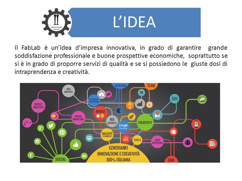 L'IDEA Il FabLab è un'idea d'impresa innovativa, in grado di garantire grande soddisfazione professionale e buone prospettive economiche, soprattutto