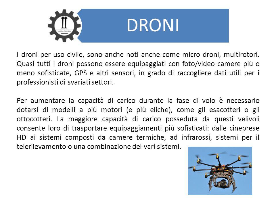 DRONI I droni per uso civile, sono anche noti anche come micro droni, multirotori. Quasi tutti i droni possono essere equipaggiati con foto/video came