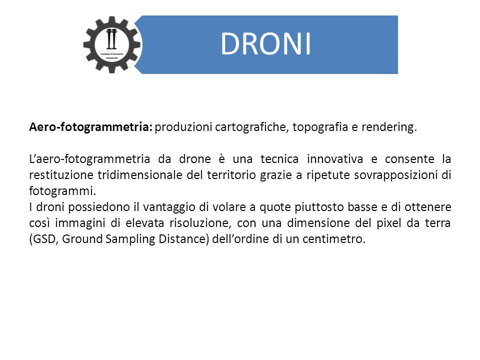 DRONI Aero-fotogrammetria: produzioni cartografiche, topografia e rendering. L'aero-fotogrammetria da drone è una tecnica innovativa e consente la res