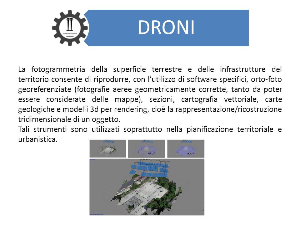 DRONI La fotogrammetria della superficie terrestre e delle infrastrutture del territorio consente di riprodurre, con l'utilizzo di software specifici,