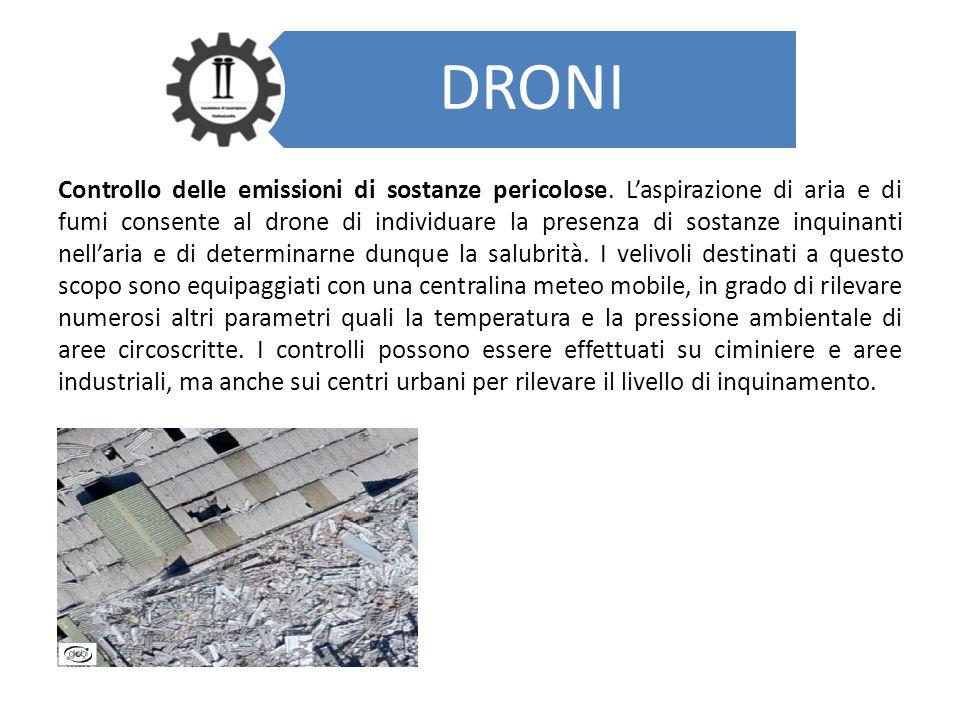 DRONI Controllo delle emissioni di sostanze pericolose. L'aspirazione di aria e di fumi consente al drone di individuare la presenza di sostanze inqui