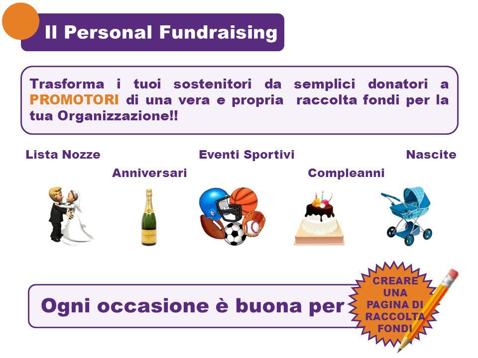 Il Personal Fundraising Lista NozzeEventi SportiviNascite AnniversariCompleanni Ogni occasione è buona per CREARE UNA PAGINA DI RACCOLTA FONDI Trasfor