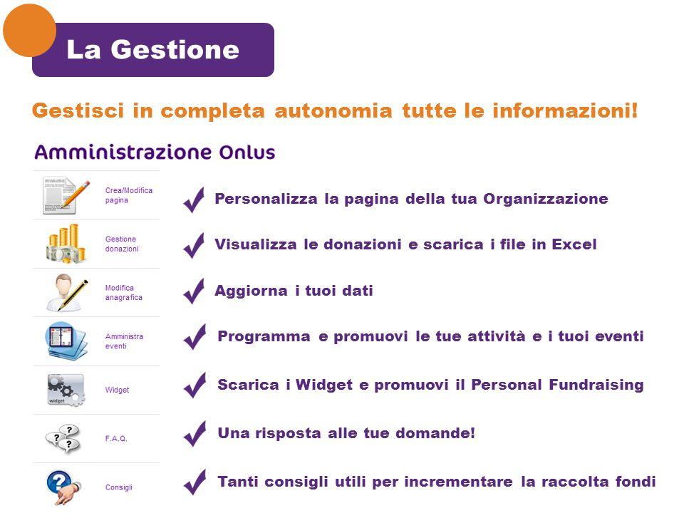 La Gestione Gestisci in completa autonomia tutte le informazioni! Personalizza la pagina della tua Organizzazione Visualizza le donazioni e scarica i