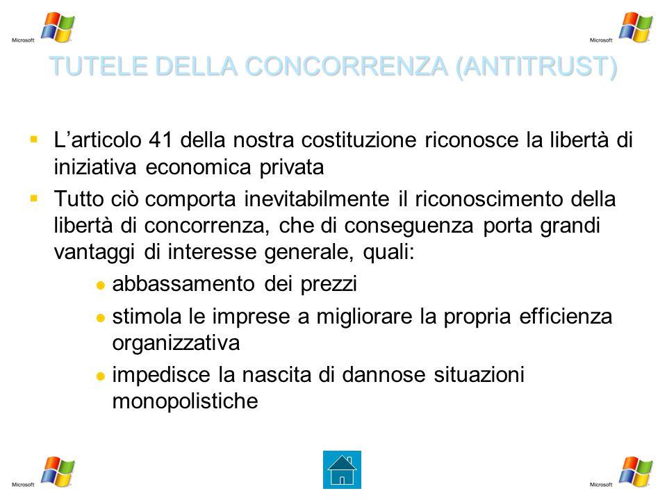 TUTELE DELLA CONCORRENZA (ANTITRUST)   L'articolo 41 della nostra costituzione riconosce la libertà di iniziativa economica privata   Tutto ciò co