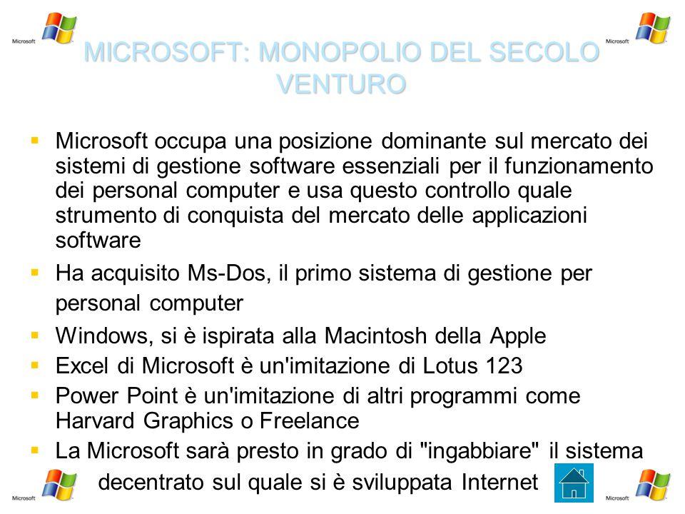 MICROSOFT: MONOPOLIO DEL SECOLO VENTURO   Microsoft occupa una posizione dominante sul mercato dei sistemi di gestione software essenziali per il fu