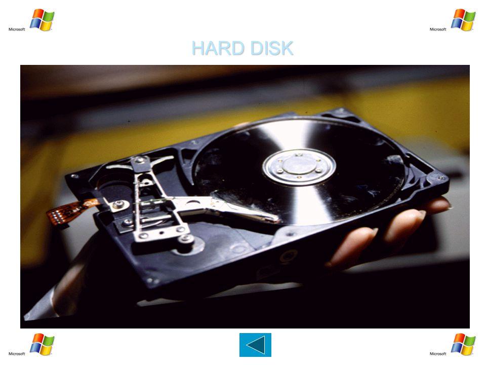 HARD DISK   Dispositivo capace di memorizzare migliaia di MB (GB).   Un elemento metallico ricoperto di un materiale magnetico per la registrazion