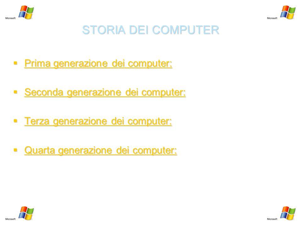 STORIA DEI COMPUTER  Prima generazione dei computer: Prima generazione dei computer: Prima generazione dei computer:  Seconda generazione dei comput