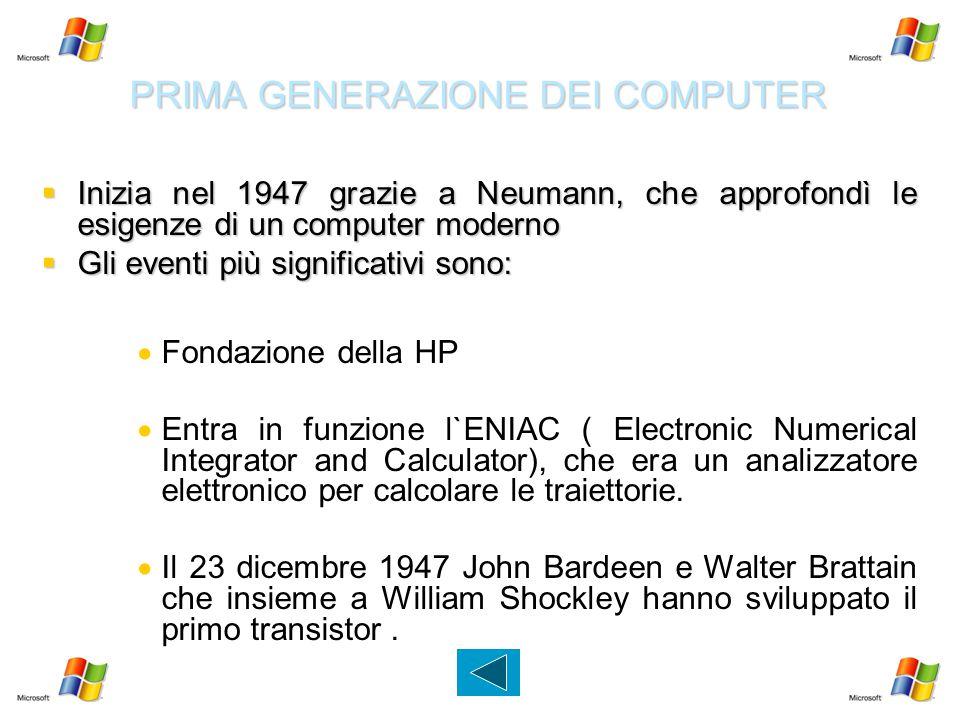 PRIMA GENERAZIONE DEI COMPUTER  Inizia nel 1947 grazie a Neumann, che approfondì le esigenze di un computer moderno  Gli eventi più significativi so