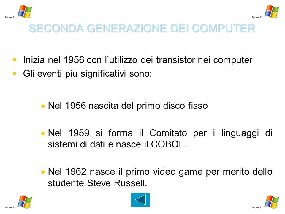 SECONDA GENERAZIONE DEI COMPUTER   Inizia nel 1956 con l'utilizzo dei transistor nei computer   Gli eventi più significativi sono:   Nel 1956 na