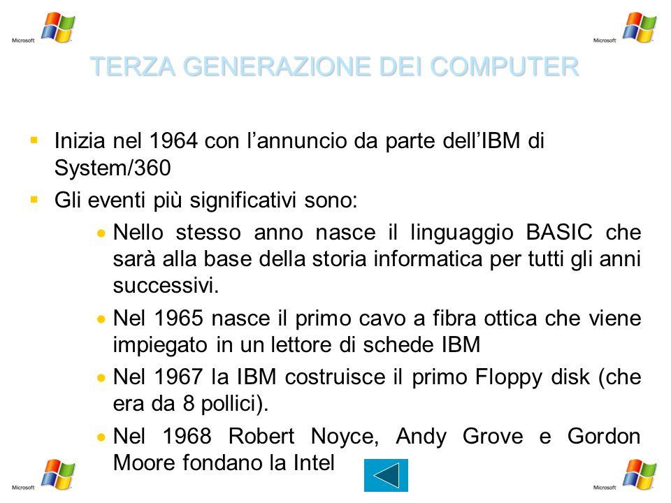 TERZA GENERAZIONE DEI COMPUTER   Inizia nel 1964 con l'annuncio da parte dell'IBM di System/360   Gli eventi più significativi sono:   Nello ste