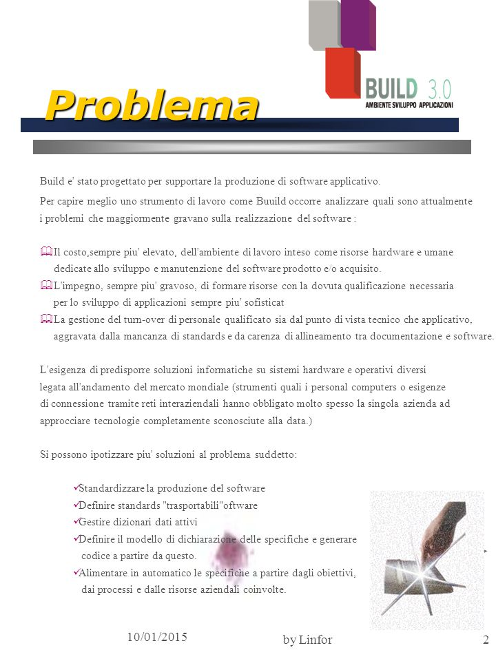 10/01/2015 by Linfor2 Problema Build e stato progettato per supportare la produzione di software applicativo.