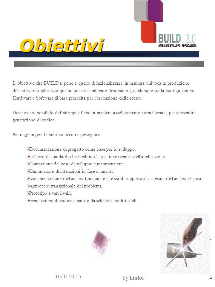 10/01/2015 by Linfor4 Obiettivi L obiettivo che BUILD si pone e quello di razionalizzare in maniera univoca la produzione del software applicativo qualunque sia l ambiente destinatario, qualunque sia la configurazione Hardware e Software di base prescelta per l esecuzione dello stesso.