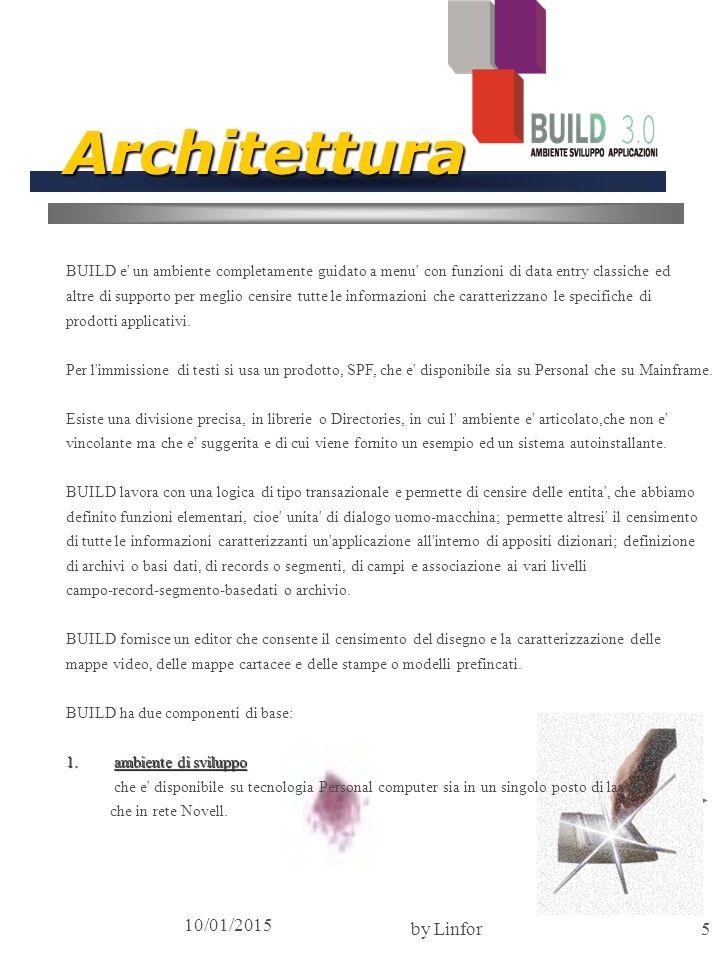10/01/2015 by Linfor5 Architettura BUILD e un ambiente completamente guidato a menu con funzioni di data entry classiche ed altre di supporto per meglio censire tutte le informazioni che caratterizzano le specifiche di prodotti applicativi.