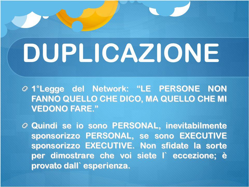 DUPLICAZIONE 1°Legge del Network: LE PERSONE NON FANNO QUELLO CHE DICO, MA QUELLO CHE MI VEDONO FARE. Quindi se io sono PERSONAL, inevitabilmente sponsorizzo PERSONAL, se sono EXECUTIVE sponsorizzo EXECUTIVE.