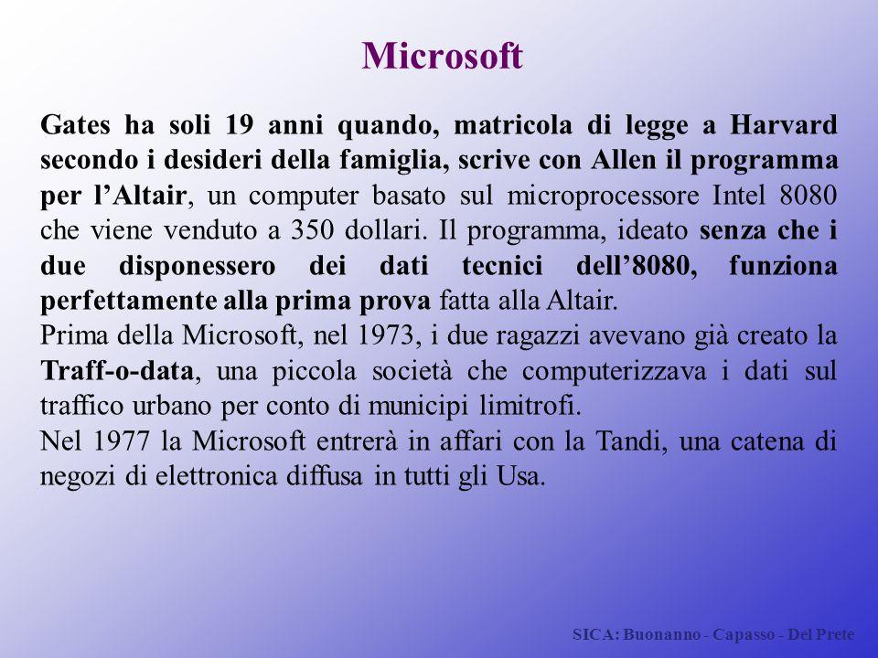 SICA: Buonanno - Capasso - Del Prete Microsoft Gates ha soli 19 anni quando, matricola di legge a Harvard secondo i desideri della famiglia, scrive co