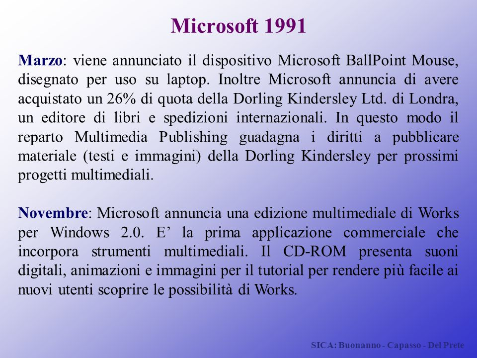 SICA: Buonanno - Capasso - Del Prete Microsoft 1991 Marzo: viene annunciato il dispositivo Microsoft BallPoint Mouse, disegnato per uso su laptop. Ino