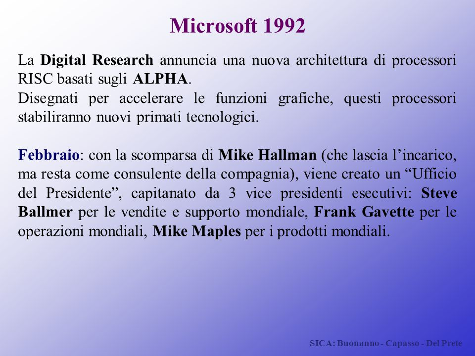 SICA: Buonanno - Capasso - Del Prete Microsoft 1992 La Digital Research annuncia una nuova architettura di processori RISC basati sugli ALPHA. Disegna