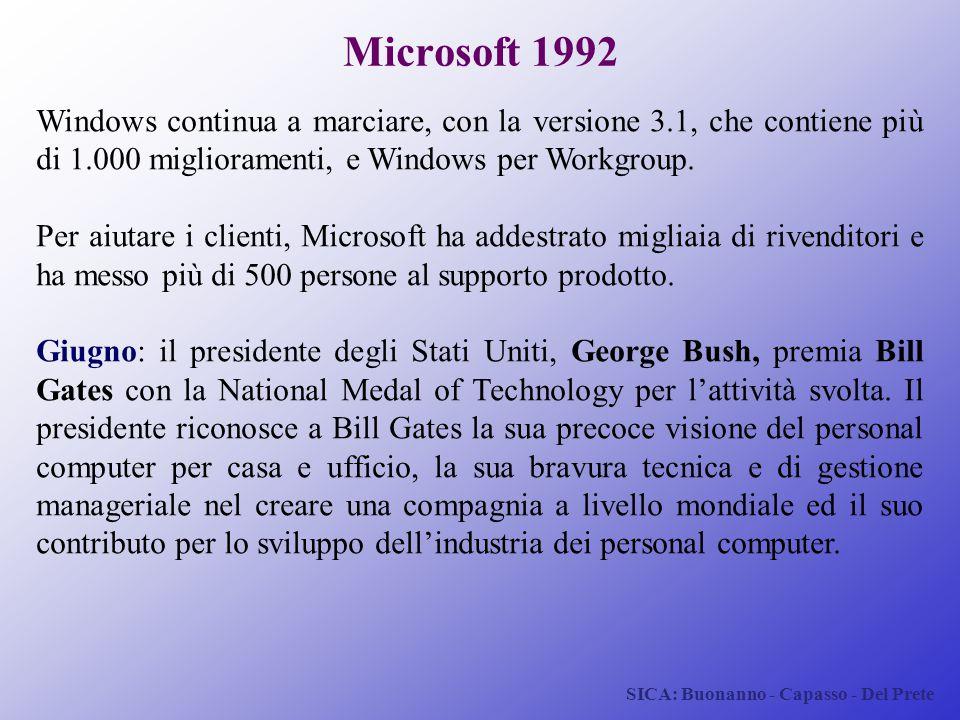 SICA: Buonanno - Capasso - Del Prete Microsoft 1992 Windows continua a marciare, con la versione 3.1, che contiene più di 1.000 miglioramenti, e Windo