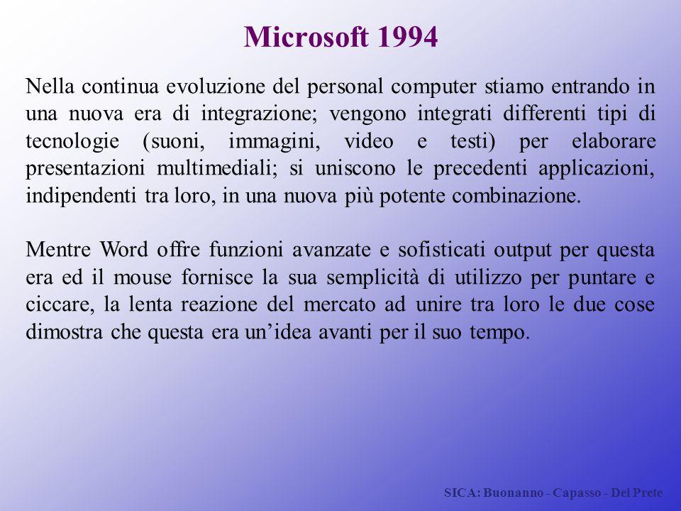 SICA: Buonanno - Capasso - Del Prete Microsoft 1994 Nella continua evoluzione del personal computer stiamo entrando in una nuova era di integrazione;