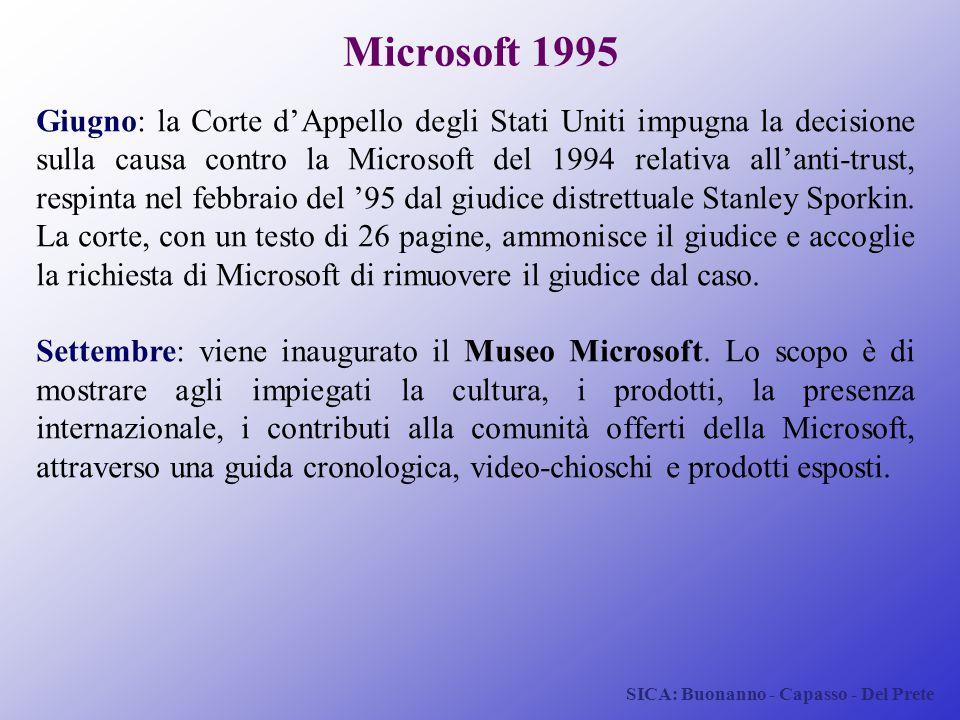 SICA: Buonanno - Capasso - Del Prete Microsoft 1995 Giugno: la Corte d'Appello degli Stati Uniti impugna la decisione sulla causa contro la Microsoft