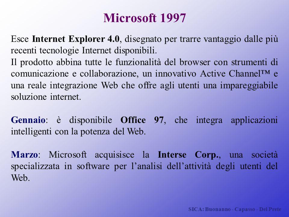 SICA: Buonanno - Capasso - Del Prete Microsoft 1997 Esce Internet Explorer 4.0, disegnato per trarre vantaggio dalle più recenti tecnologie Internet d