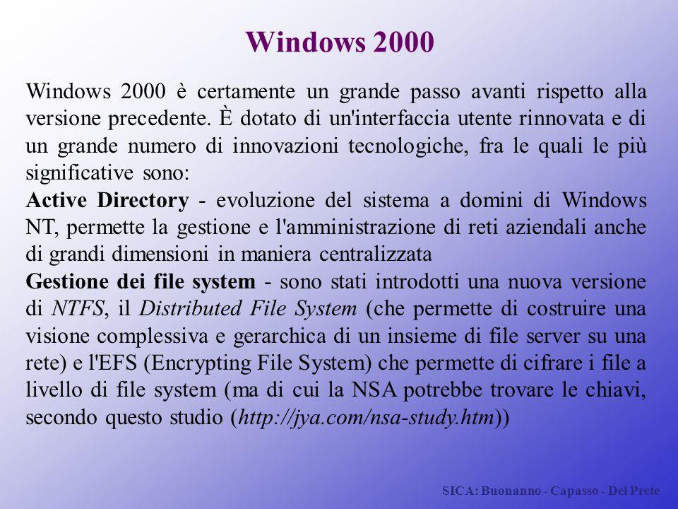 SICA: Buonanno - Capasso - Del Prete Windows 2000 Windows 2000 è certamente un grande passo avanti rispetto alla versione precedente. È dotato di un'i